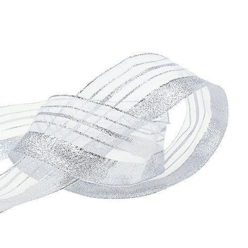 Smykkebånd med lurex-striber sølv 40mm 20m