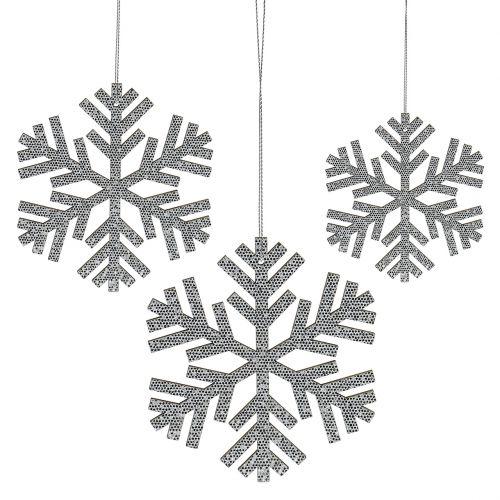 Snowflake sølv til hængende Ø8cm - Ø12cm 9stk