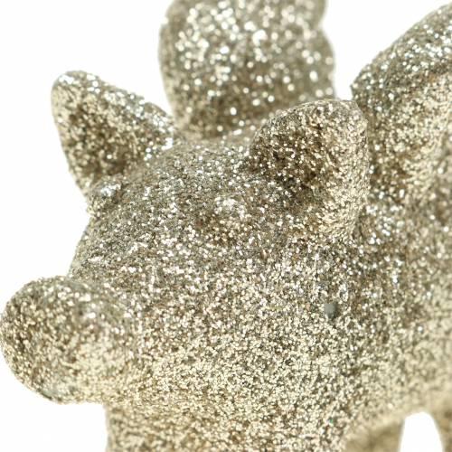 Dekorativ gris med vinger guld glimmer 6 cm