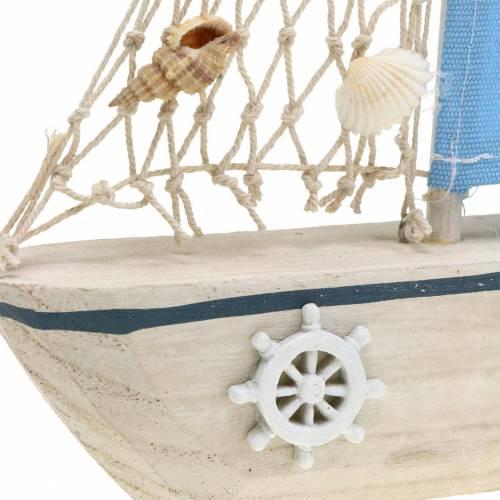 Dekorativ sejlbåd træblå hvid naturlig 20x4cm H30cm