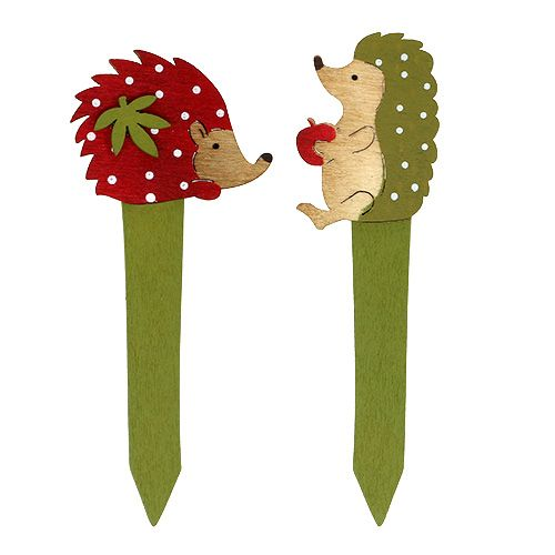 Stik pindsvin rød, grøn 13 cm 16stk