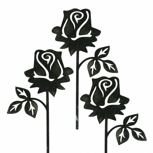 Metalstik rose sølvgrå, hvidvasket metal 20cm × 11,5cm 8stk