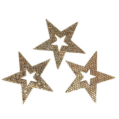 Træ stjerne guld scatter dekoration 4cm 48p