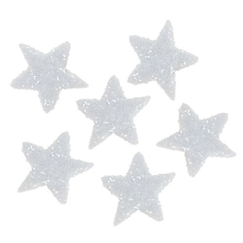Stjerneglitter 1,5 cm til sprinkling af hvide 144 stk