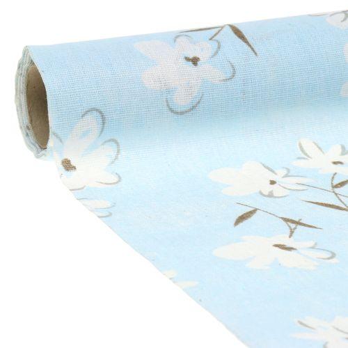 Dekorativt stof blomster blå 30cm x 3m