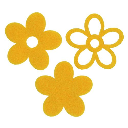 Spredt dekoration filtblomst gul assorteret 4 cm 72stk