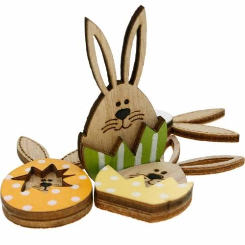 Kuld dekoration bunny i æg, gave dekoration, bunny æg til at dekorere, træ dekoration til at holde på 12stk