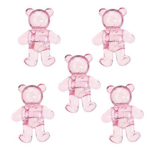 Spredt deco-bjørn lyserød 3,5 cm 60p