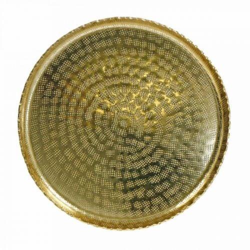 Dekorativ bakke, metalplade orientalsk, borddekoration Ø25cm