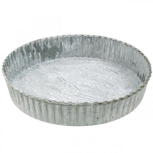 Dekorativ tallerkenkageform, metaldekoration, rund lysbakke, hvidvasket Ø21,5cm H4,5cm