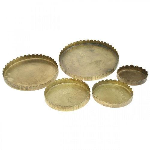 Metalplade til dekoration, borddekorationer, lysbakke rund gyldent antikt look Ø7,5 / 10/12/15 / 18cm H2cm sæt med 5
