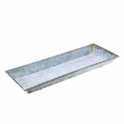 Dekorativ bakke hvidvasket zink 40cm × 15cm