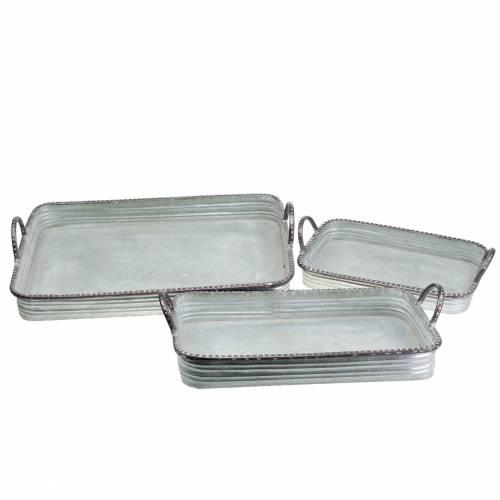 Dekorativ bakke med håndtag metal sølv 30cm / 37cm / 45cm sæt med 3