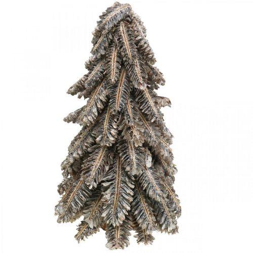 Gran lavet af kogler, juletræ dækket med sne, vinterpynt, advent, vasket hvidt H33cm Ø20cm