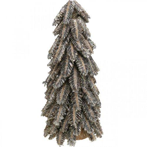 Fyrretræer, julepynt, snedækket vintergran, vasket hvid H40cm Ø18cm