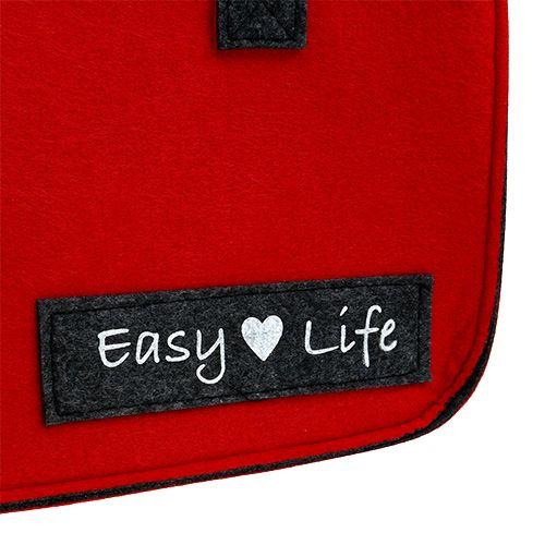 "Taske ""Easy Life"" 39 cm x 22 cm x 25,5 cm rødgrå"