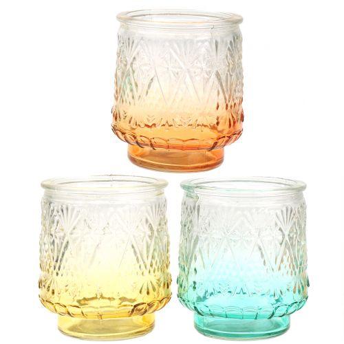 Tealight glas orange / gul / turkis Ø8cm 3stk