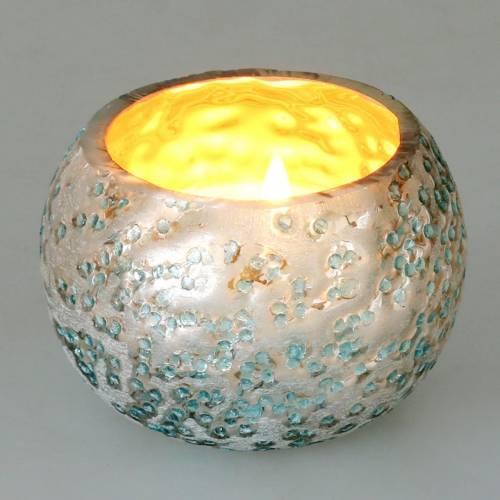 Lykte lavet af glas sølvisblå Ø8,5cm H6cm