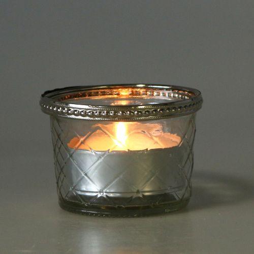 Tealight glas rhombus med metalkant Ø8cm H5.5cm 4stk