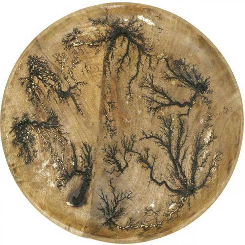 Dekorativ tallerken træ natur, guld krakel effekt mango træ Ø30