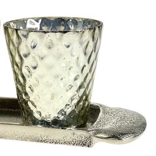 Borddekorationsplade med 3 telysglas sølv Ø7cm H8cm