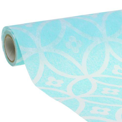 Bordløber med mønster lyseblå 30 cm x 300 cm