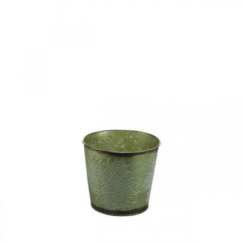Plante med bladdekoration, metalbeholder til efterår, grøn plantespand Ø10cm H10cm