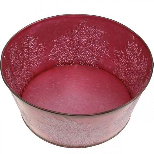 Planterskål til efterår, metalbeholder med bladdekoration, dekorativ gryde vin rød Ø25cm H11cm