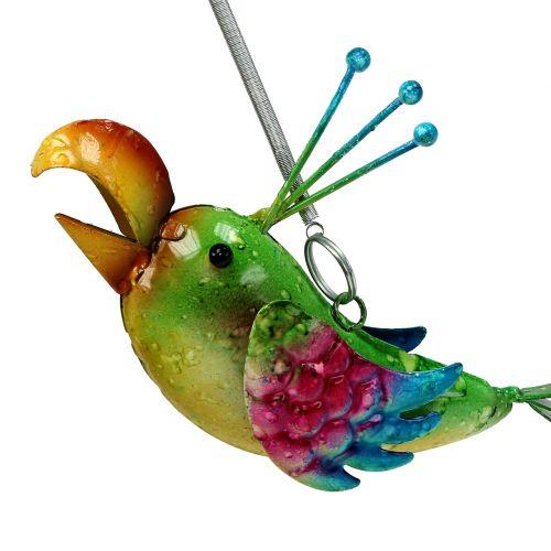 Fugl til at hænge grøn, lyserød, blå 19,5 cm