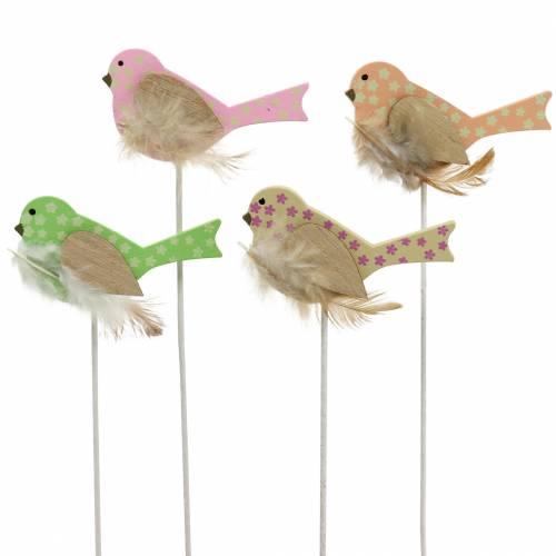 Dekorativ stik fugl trægrøn, lyserød, gul, orange assorteret 7cm x 4cm H24cm 16stk