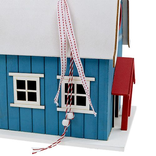 Fuglehus, blåt dekorativt hus 21 cm x 30 cm