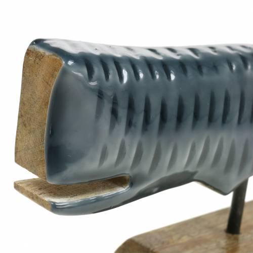 Trædekorationshval med grå base, naturligt 26cm