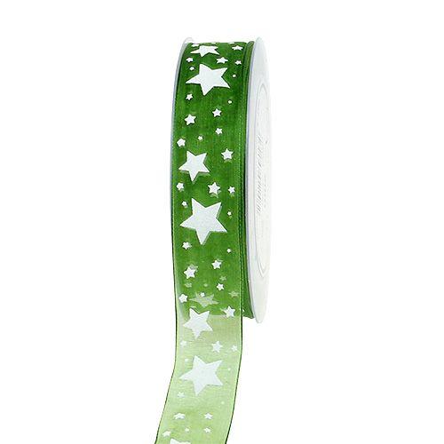 Julebåndgrønt med stjernemønster 25mm 20m