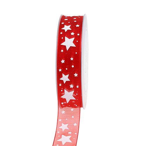 Julebånd rød organza med stjerner 25mm 20m