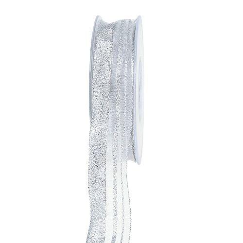 Julebånd med striber sølv 25mm 20m