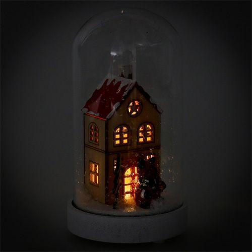 Juledekorationshus med glasklokke Ø9cm H16.5cm