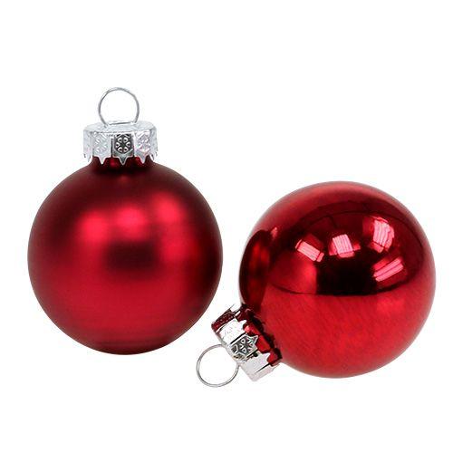 Julekugle Ø4cm rødglans / mat 24stk