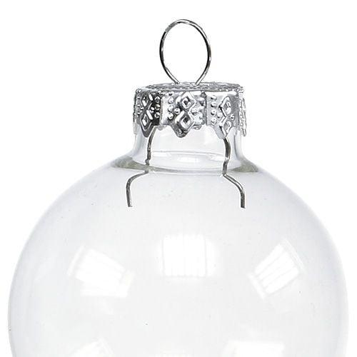 Julekugleglas Ø4cm klart 24stk
