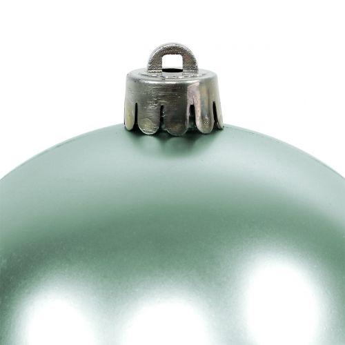 Julekugle brudfast lysgrøn assorteret Ø10cm 4stk