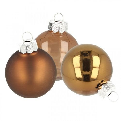 Julekugler, blanding af træpynt, mini juletræskugler brun H4,5cm Ø4cm ægte glas 24stk