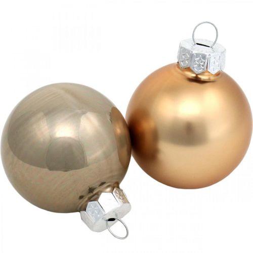 Træpyntemix, julekugler, mini trævedhæng gylden / brun / perlemor / beige H4,5cm Ø4cm ægte glas 24stk.