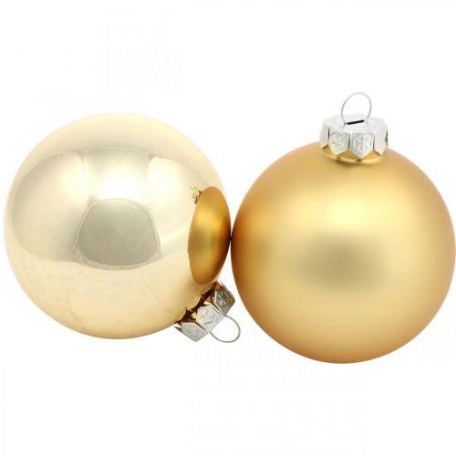 Trækugle, juletræspynt, julekugle gylden H8,5cm Ø7,5cm ægte glas 12stk