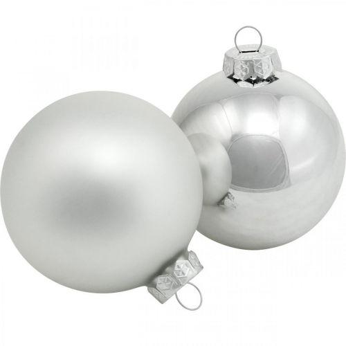 Glaskugle, trædekorationer, juletræskugle sølv H8,5cm Ø7,5cm ægte glas 12stk