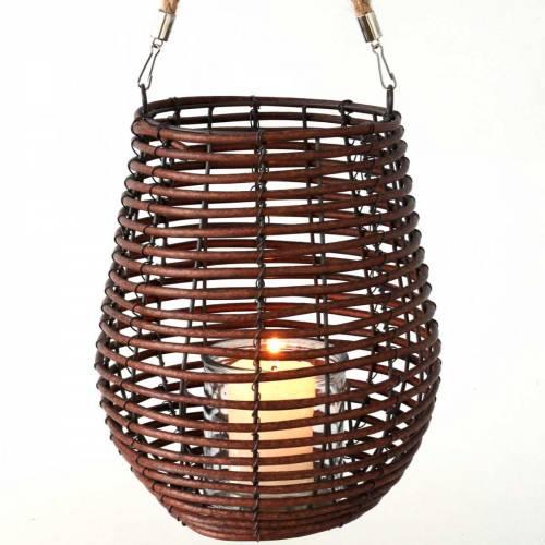 Dekorativ lanterne, stearinlysdekoration med håndtag, lanterne i kurven Ø23cm H27cm