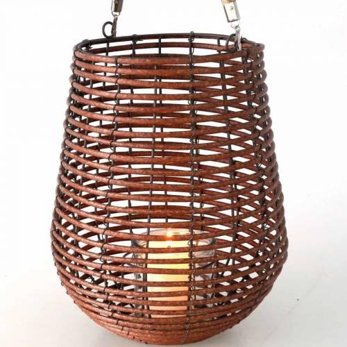 Stearinlys i en kurv, lanterne med håndtag, stearinlys dekoration, kurv lanterne Ø24cm H34cm