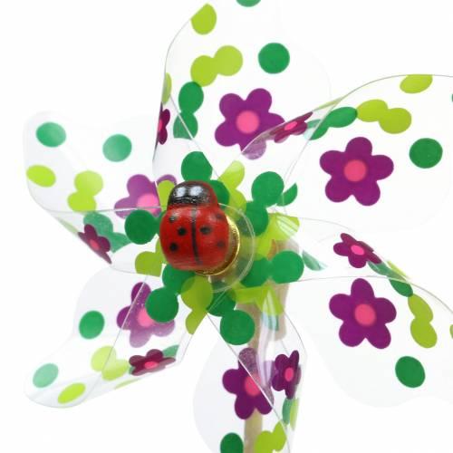 Vindmølle Mini flerfarvet med Ladybird Ø9cm 12stk