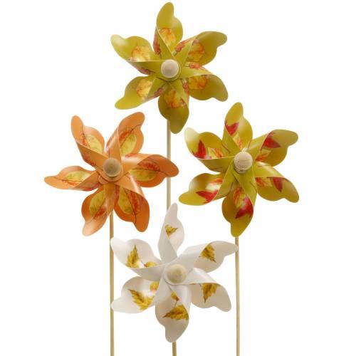 Dekorative vindmøller med efterårsbladmotiv orange / hvid / grøn L27,5 Ø22cm 12stk