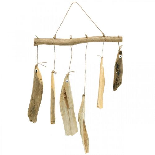 Maritim fiskedekoration, drivved vindklokke, trædekoration L50cm W30cm