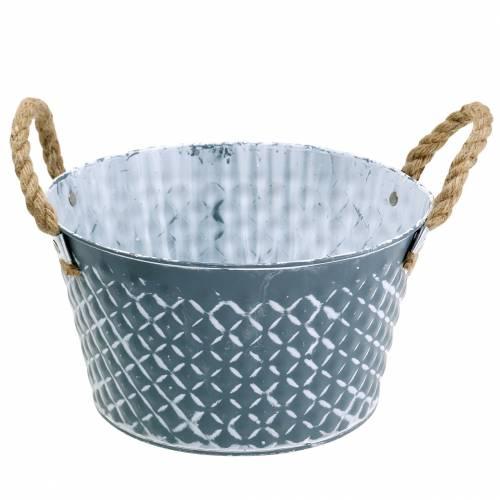 Zinkskål diamant med rebhåndtag blågrå Ø25cm H14cm