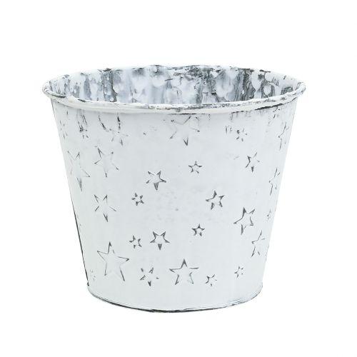 Zinkpotte med stjerner Ø12cm H10cm hvidvasket 6stk